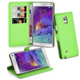 Cadorabo Hülle für Samsung Galaxy NOTE 4 in MINZ GRÜN - Handyhülle mit Magnetverschluss, Standfunktion und Kartenfach - Case Cover Schutzhülle Etui Tasche Book Klapp Style