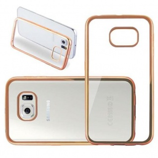 Cadorabo Hülle für Samsung Galaxy S6 EDGE - Hülle in TRANSPARENT mit CHROM GOLD ? Handyhülle aus TPU Silikon im Chrom Design - Silikonhülle Schutzhülle Ultra Slim Soft Back Cover Case Bumper