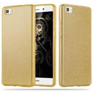 Cadorabo Hülle für Huawei P8 LITE 2015 - Hülle in STERNENSTAUB GOLD ? TPU Silikon und Hardcase Handyhülle im Glitzer Design - Hard Case TPU Silikon Schutzhülle