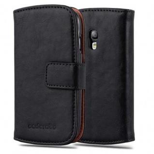 Cadorabo Hülle für Samsung Galaxy S3 MINI in GRAPHIT SCHWARZ ? Handyhülle mit Magnetverschluss, Standfunktion und Kartenfach ? Case Cover Schutzhülle Etui Tasche Book Klapp Style