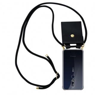 Cadorabo Handy Kette für Nokia 7.1 2018 in SCHWARZ - Silikon Necklace Umhänge Hülle mit Gold Ringen, Kordel Band Schnur und abnehmbarem Etui ? Schutzhülle