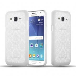 Samsung Galaxy J7 2015 Hardcase Hülle in WEIß von Cadorabo - Blumen Paisley Henna Design Schutzhülle ? Handyhülle Bumper Back Case Cover