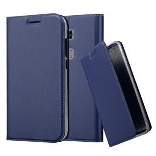 Cadorabo Hülle für Huawei G7 PLUS / G8 / GX8 in CLASSY DUNKEL BLAU - Handyhülle mit Magnetverschluss, Standfunktion und Kartenfach - Case Cover Schutzhülle Etui Tasche Book Klapp Style