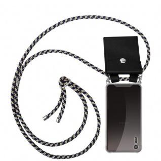 Cadorabo Handy Kette für Sony Xperia XZ / XZs in DUNKELBLAU GELB - Silikon Necklace Umhänge Hülle mit Silber Ringen, Kordel Band Schnur und abnehmbarem Etui - Schutzhülle