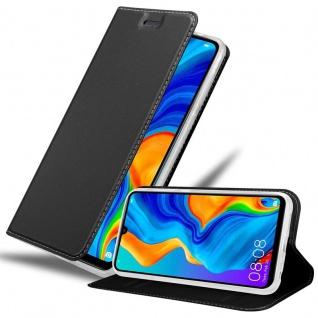 Cadorabo Hülle für Huawei P30 LITE in CLASSY SCHWARZ - Handyhülle mit Magnetverschluss, Standfunktion und Kartenfach - Case Cover Schutzhülle Etui Tasche Book Klapp Style