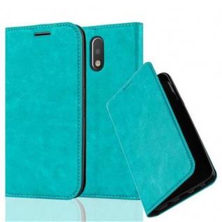 Cadorabo Hülle für Motorola MOTO G4 / G4 PLUS in PETROL TÜRKIS - Handyhülle mit Magnetverschluss, Standfunktion und Kartenfach - Case Cover Schutzhülle Etui Tasche Book Klapp Style