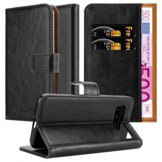 Cadorabo Hülle für Samsung Galaxy S10 in GRAPHIT SCHWARZ Handyhülle mit Magnetverschluss, Standfunktion und Kartenfach Case Cover Schutzhülle Etui Tasche Book Klapp Style