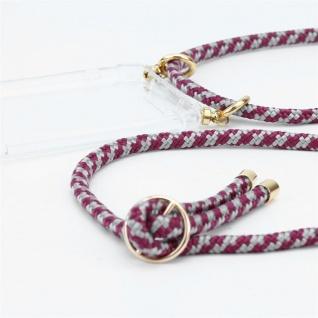 Cadorabo Handy Kette für Honor 5C in ROT WEISS Silikon Necklace Umhänge Hülle mit Gold Ringen, Kordel Band Schnur und abnehmbarem Etui Schutzhülle - Vorschau 2