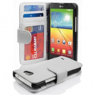 Cadorabo Hülle für LG L90 in MAGNESIUM WEIß ? Handyhülle mit Magnetverschluss und 3 Kartenfächern ? Case Cover Schutzhülle Etui Tasche Book Klapp Style