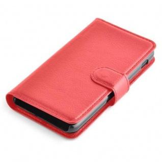Cadorabo Hülle für LG F5 / LUCID 2 in KARMIN ROT - Handyhülle mit Magnetverschluss, Standfunktion und Kartenfach - Case Cover Schutzhülle Etui Tasche Book Klapp Style - Vorschau 3
