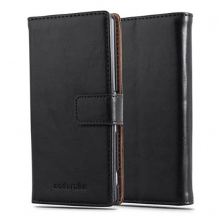 Cadorabo Hülle für Sony Xperia Z4 in GRAPHIT SCHWARZ - Handyhülle mit Magnetverschluss, Standfunktion und Kartenfach - Case Cover Schutzhülle Etui Tasche Book Klapp Style