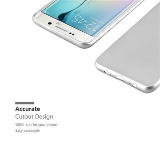 Cadorabo Hülle für Samsung Galaxy S6 EDGE in METALLIC SILBER - Handyhülle aus flexiblem TPU Silikon - Silikonhülle Schutzhülle Ultra Slim Soft Back Cover Case Bumper - Vorschau 2