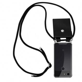 Cadorabo Handy Kette für Google Pixel 3 in SCHWARZ Silikon Necklace Umhänge Hülle mit Silber Ringen, Kordel Band Schnur und abnehmbarem Etui Schutzhülle