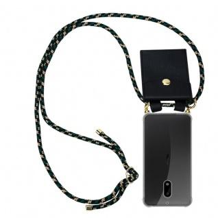 Cadorabo Handy Kette für Nokia 6 2017 in CAMOUFLAGE Silikon Necklace Umhänge Hülle mit Gold Ringen, Kordel Band Schnur und abnehmbarem Etui Schutzhülle