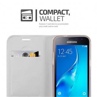 Cadorabo Hülle für Samsung Galaxy J1 2016 in CLASSY SILBER - Handyhülle mit Magnetverschluss, Standfunktion und Kartenfach - Case Cover Schutzhülle Etui Tasche Book Klapp Style - Vorschau 3