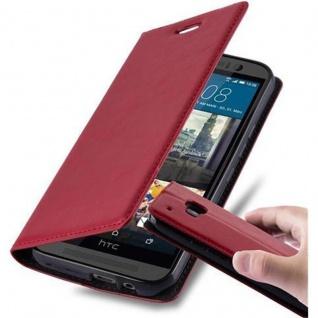 Cadorabo Hülle für HTC ONE M9 (3.Generation) in APFEL ROT - Handyhülle mit Magnetverschluss, Standfunktion und Kartenfach - Case Cover Schutzhülle Etui Tasche Book Klapp Style