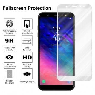 Cadorabo Vollbild Panzer Folie für Samsung Galaxy A6 2018 - Schutzfolie in TRANSPARENT mit WEISS - Gehärtetes (Tempered) Display-Schutzglas in 9H Härte mit 3D Touch Kompatibilität - Vorschau 4