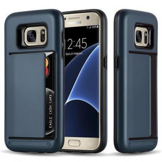 Cadorabo Hülle für Samsung Galaxy S7 - Hülle in ARMOR DUNKEL BLAU - Handyhülle mit Kartenfach - Hard Case TPU Silikon Schutzhülle für Hybrid Cover im Outdoor Heavy Duty Design