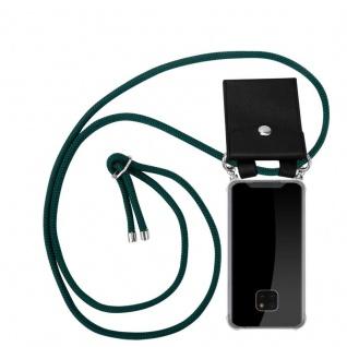 Cadorabo Handy Kette für Huawei MATE 20 PRO in ARMEE GRÜN - Silikon Necklace Umhänge Hülle mit Silber Ringen, Kordel Band Schnur und abnehmbarem Etui - Schutzhülle