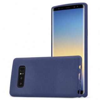Cadorabo Hülle für Samsung Galaxy NOTE 8 in FROST DUNKEL BLAU Handyhülle aus flexiblem TPU Silikon Silikonhülle Schutzhülle Ultra Slim Soft Back Cover Case Bumper