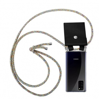 Cadorabo Handy Kette für Honor View 30 in RAINBOW Silikon Necklace Umhänge Hülle mit Silber Ringen, Kordel Band Schnur und abnehmbarem Etui Schutzhülle