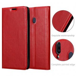 Cadorabo Hülle für Samsung Galaxy M20 in APFEL ROT - Handyhülle mit Magnetverschluss, Standfunktion und Kartenfach - Case Cover Schutzhülle Etui Tasche Book Klapp Style - Vorschau 5