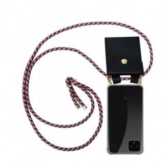 Cadorabo Handy Kette für Google Pixel 4 in ROT GELB WEISS - Silikon Necklace Umhänge Hülle mit Gold Ringen, Kordel Band Schnur und abnehmbarem Etui ? Schutzhülle