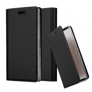 Cadorabo Hülle für Sony Xperia XZ1 COMPACT in CLASSY SCHWARZ - Handyhülle mit Magnetverschluss, Standfunktion und Kartenfach - Case Cover Schutzhülle Etui Tasche Book Klapp Style