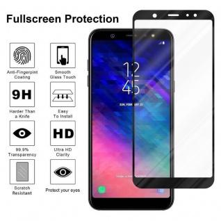 Cadorabo Vollbild Panzer Folie für Samsung Galaxy A6 2018 - Schutzfolie in TRANSPARENT mit SCHWARZ - Gehärtetes (Tempered) Display-Schutzglas in 9H Härte mit 3D Touch Kompatibilität - Vorschau 4
