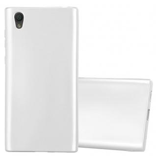 Cadorabo Hülle für Sony Xperia L1 in METALLIC SILBER - Handyhülle aus flexiblem TPU Silikon - Silikonhülle Schutzhülle Ultra Slim Soft Back Cover Case Bumper