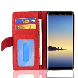 Cadorabo Hülle für Samsung Galaxy NOTE 8 in INFERNO ROT Handyhülle mit Magnetverschluss und 3 Kartenfächern Case Cover Schutzhülle Etui Tasche Book Klapp Style