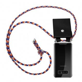Cadorabo Handy Kette für Samsung Galaxy NOTE 8 in ORANGE BLAU WEISS Silikon Necklace Umhänge Hülle mit Silber Ringen, Kordel Band Schnur und abnehmbarem Etui Schutzhülle
