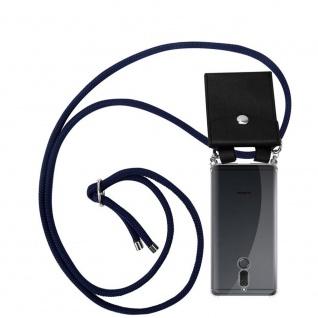 Cadorabo Handy Kette für Huawei MATE 10 / NOVA 2i in TIEF BLAU Silikon Necklace Umhänge Hülle mit Silber Ringen, Kordel Band Schnur und abnehmbarem Etui Schutzhülle