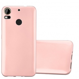 Cadorabo Hülle für HTC Desire 10 PRO in METALLIC ROSÉ GOLD Handyhülle aus flexiblem TPU Silikon Silikonhülle Schutzhülle Ultra Slim Soft Back Cover Case Bumper