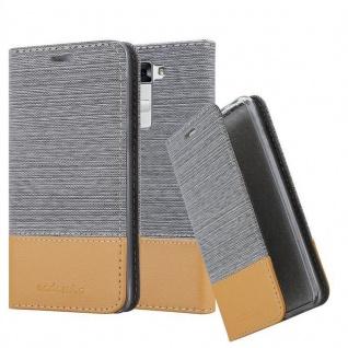 Cadorabo Hülle für LG K7 in HELL GRAU BRAUN Handyhülle mit Magnetverschluss, Standfunktion und Kartenfach Case Cover Schutzhülle Etui Tasche Book Klapp Style