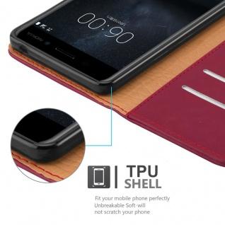 Cadorabo Hülle für Nokia 6 2017 in WEIN ROT ? Handyhülle mit Magnetverschluss, Standfunktion und Kartenfach ? Case Cover Schutzhülle Etui Tasche Book Klapp Style - Vorschau 4