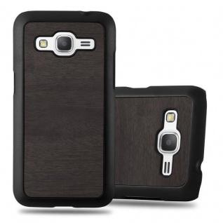 Cadorabo Hülle für Samsung Galaxy CORE PRIME in WOODEN SCHWARZ ? Handyhülle aus flexiblem TPU Silikon ? Silikonhülle Schutzhülle Ultra Slim Soft Back Cover Case Bumper