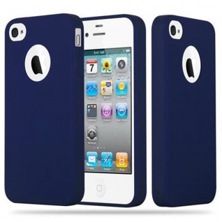 Cadorabo Hülle für Apple iPhone 4 / iPhone 4S in CANDY DUNKEL BLAU - Handyhülle aus flexiblem TPU Silikon - Silikonhülle Schutzhülle Ultra Slim Soft Back Cover Case Bumper