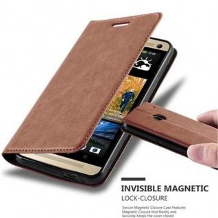 Cadorabo Hülle für HTC ONE M7 (1.Generation) in CAPPUCCINO BRAUN - Handyhülle mit Magnetverschluss, Standfunktion und Kartenfach - Case Cover Schutzhülle Etui Tasche Book Klapp Style