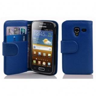 Cadorabo Hülle für Samsung Galaxy ACE 2 in KÖNIGS BLAU - Handyhülle aus strukturiertem Kunstleder mit Standfunktion und Kartenfach - Case Cover Schutzhülle Etui Tasche Book Klapp Style