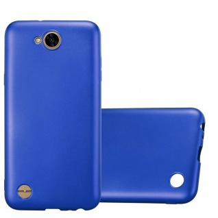 Cadorabo Hülle für LG X Power 2 in METALLIC BLAU - Handyhülle aus flexiblem TPU Silikon - Silikonhülle Schutzhülle Ultra Slim Soft Back Cover Case Bumper