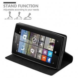 Cadorabo Hülle für Nokia Lumia 435 in NACHT SCHWARZ - Handyhülle mit Magnetverschluss, Standfunktion und Kartenfach - Case Cover Schutzhülle Etui Tasche Book Klapp Style - Vorschau 4