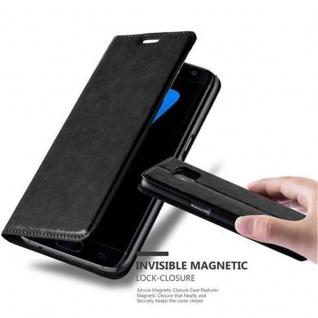 Cadorabo Hülle für Samsung Galaxy S7 EDGE in NACHT SCHWARZ - Handyhülle mit Magnetverschluss, Standfunktion und Kartenfach - Case Cover Schutzhülle Etui Tasche Book Klapp Style - Vorschau 1