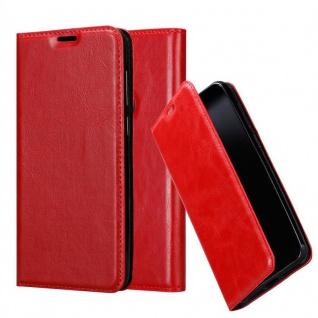 Cadorabo Hülle für Samsung Galaxy A6S in APFEL ROT - Handyhülle mit Magnetverschluss, Standfunktion und Kartenfach - Case Cover Schutzhülle Etui Tasche Book Klapp Style