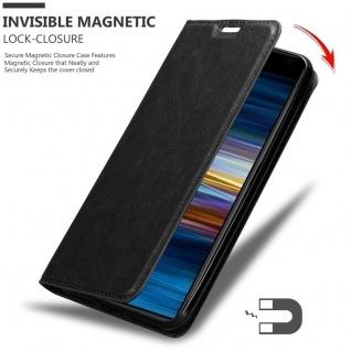Cadorabo Hülle für Sony Xperia 10 PLUS in NACHT SCHWARZ - Handyhülle mit Magnetverschluss, Standfunktion und Kartenfach - Case Cover Schutzhülle Etui Tasche Book Klapp Style - Vorschau 3