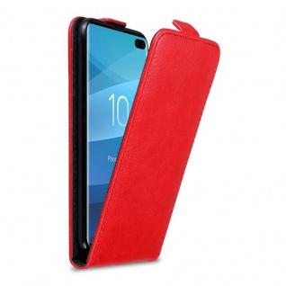 Cadorabo Hülle für Samsung Galaxy S10 PLUS in APFEL ROT - Handyhülle im Flip Design mit Magnetverschluss - Case Cover Schutzhülle Etui Tasche Book Klapp Style
