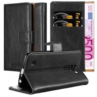 Cadorabo Hülle für LG K10 2016 in GRAPHIT SCHWARZ Handyhülle mit Magnetverschluss, Standfunktion und Kartenfach Case Cover Schutzhülle Etui Tasche Book Klapp Style