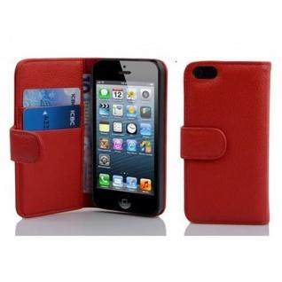 Cadorabo Hülle für Apple iPhone 5 / iPhone 5S / iPhone SE in INFERNO ROT ? Handyhülle aus strukturiertem Kunstleder mit Standfunktion und Kartenfach ? Case Cover Schutzhülle Etui Tasche Book Klapp Style