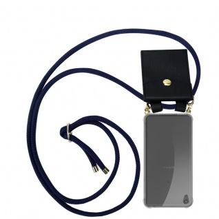 Cadorabo Handy Kette für Sony Xperia XA ULTRA in TIEF BLAU - Silikon Necklace Umhänge Hülle mit Gold Ringen, Kordel Band Schnur und abnehmbarem Etui ? Schutzhülle