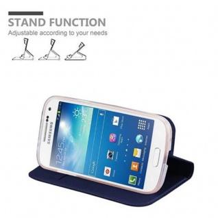Cadorabo Hülle für Samsung Galaxy S4 MINI in CLASSY DUNKEL BLAU - Handyhülle mit Magnetverschluss, Standfunktion und Kartenfach - Case Cover Schutzhülle Etui Tasche Book Klapp Style - Vorschau 4